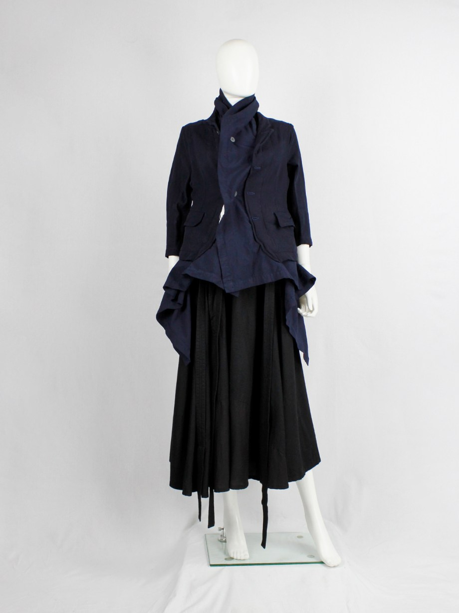 Comme des Garçons navy blazer fused with a long blue underlayer — fall 2009