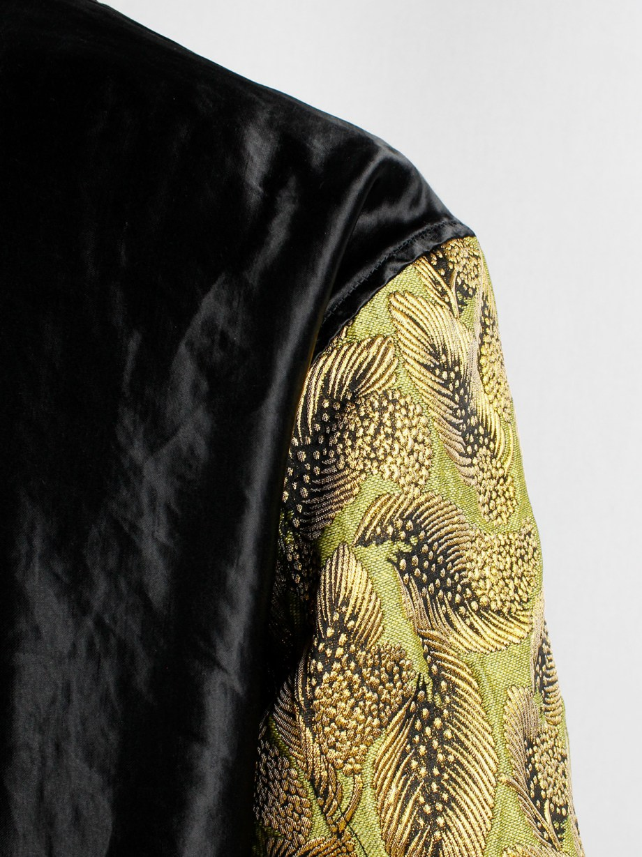 Dries Van Noten green and yellow floral embroidered bomber jacket with gold brocade sleeves