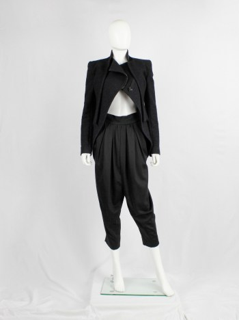 Haider Ackermann black pleated sarouel trousers with stitched waistband — spring 2011