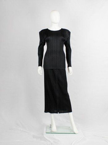 Issey Miyake Pleats Please black pleated jumper with square shoulders