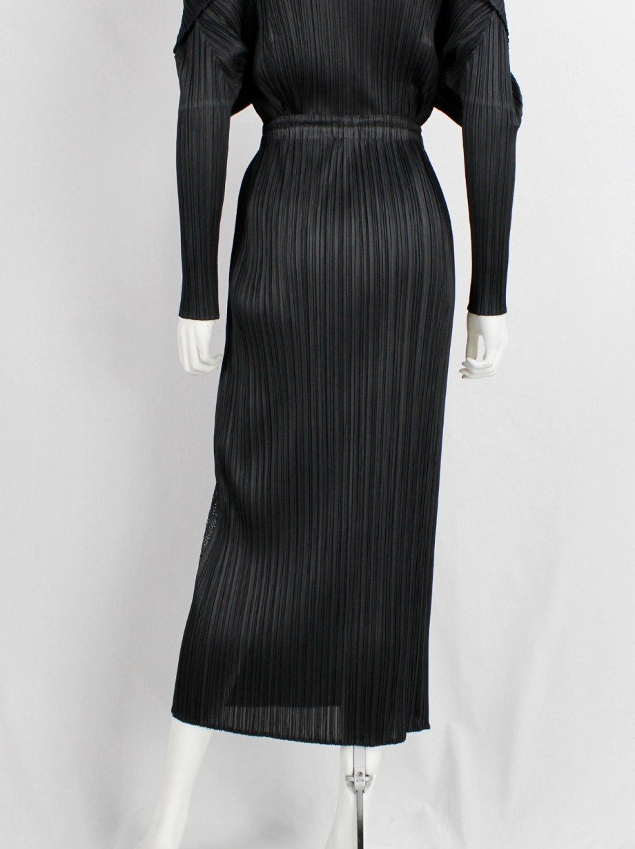 Issey Miyake Pleats Please black pleated maxi skirt with slit and mesh insert