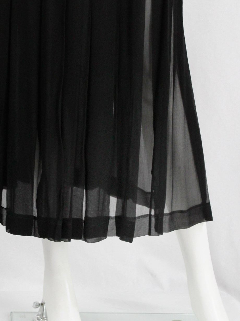 Comme des Garçons Robe de Chambre black pleated maxi skirt with semi-transparency — AD 2003