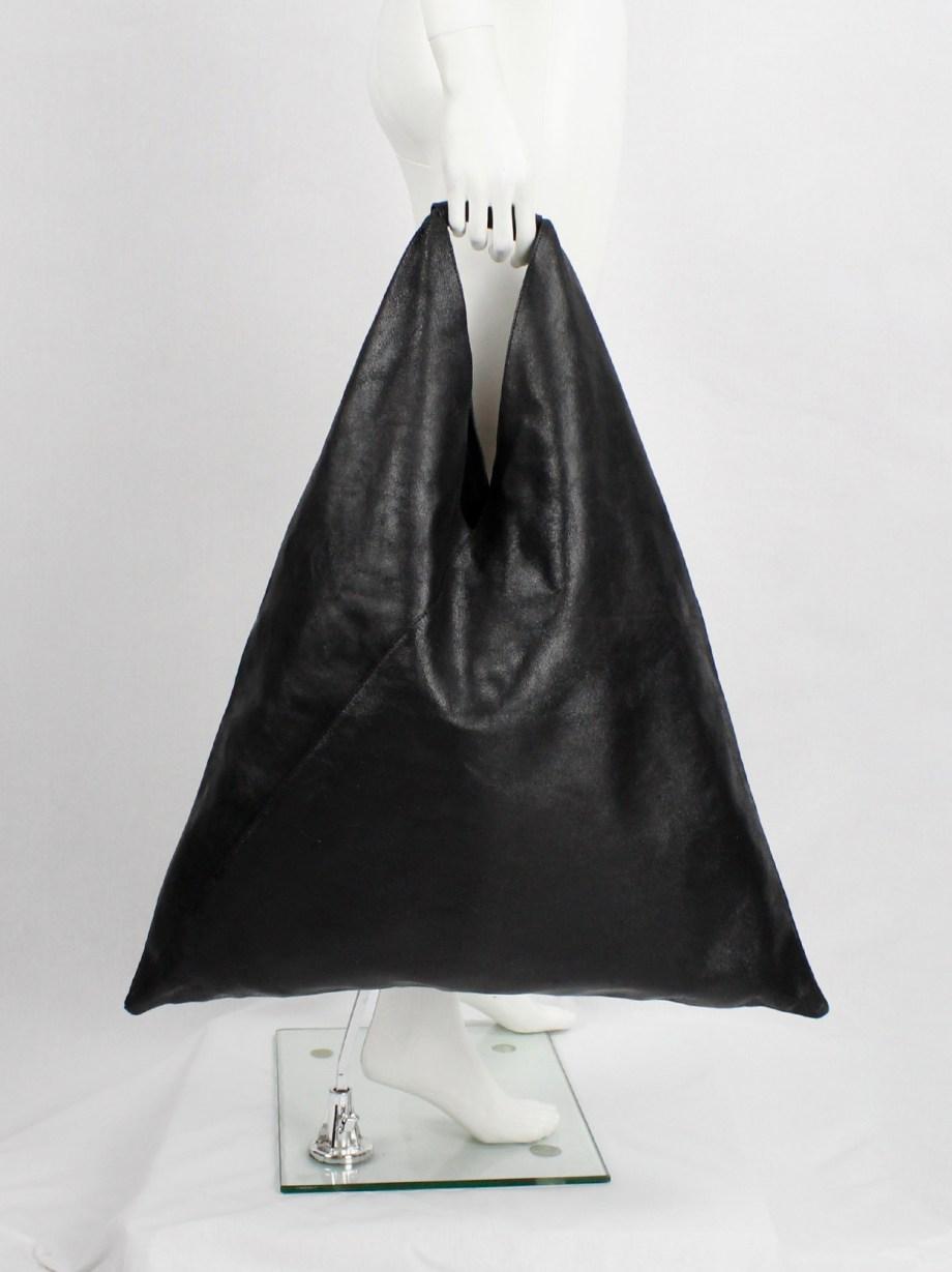 Margiela MM6 black oversized bento bag in distressed leather — spring 2012