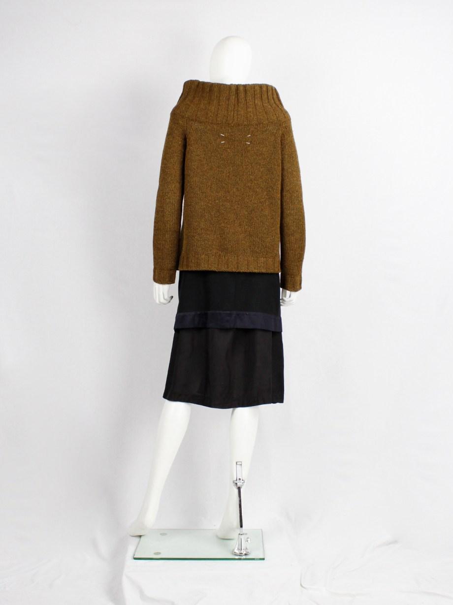 Maison Martin Margiela brown zipper jumper with oversized standing neckline — fall 1998