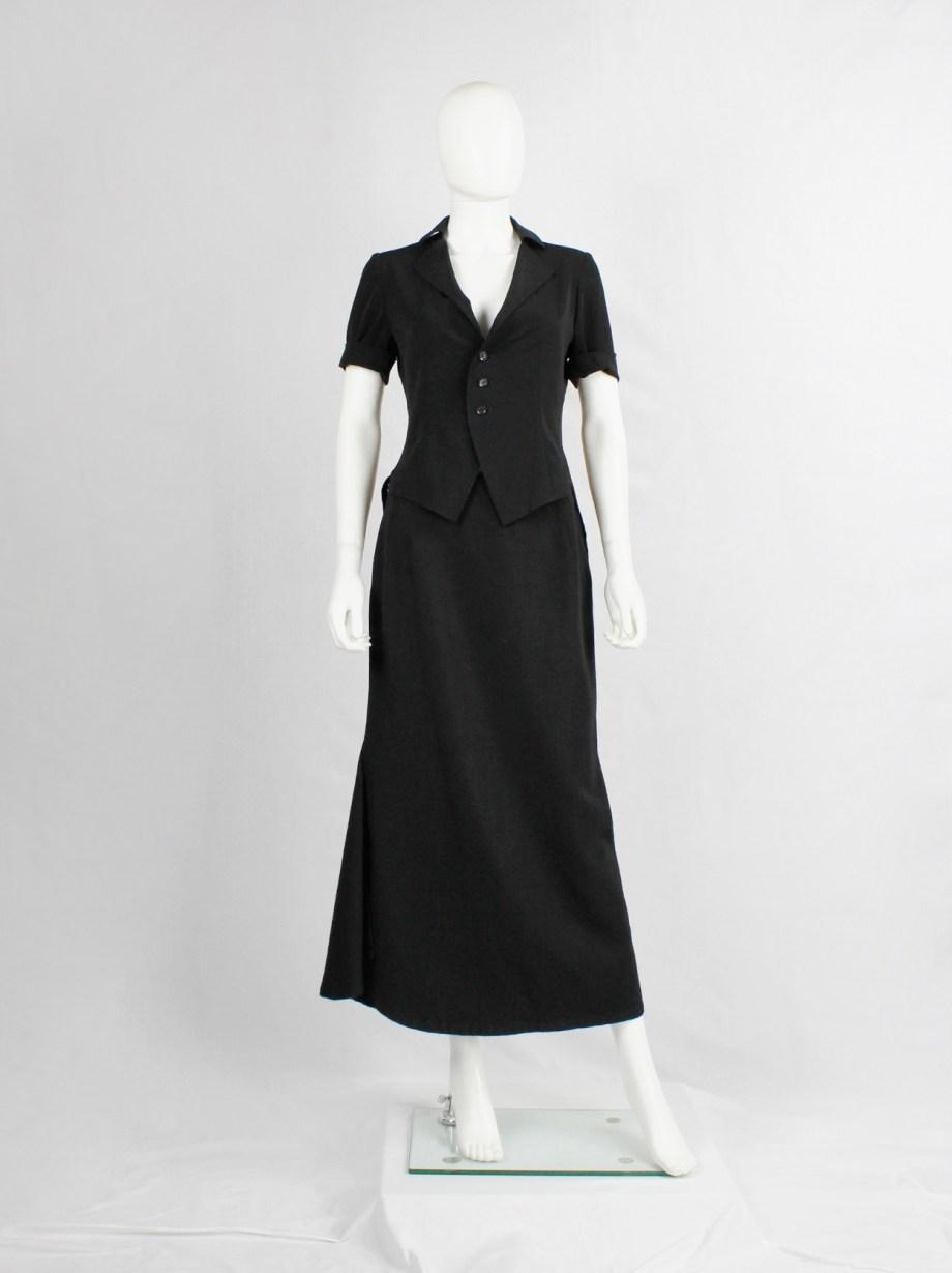 Yohji Yamamoto black curved maxi skirt with sculptural side slit