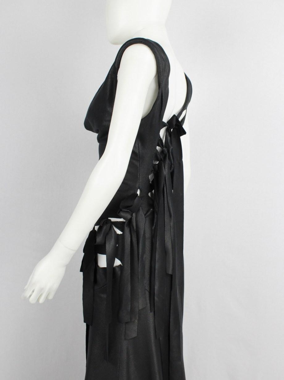 A.F. Vandevorst black slashed maxi dress with long ribbons — fall 2007