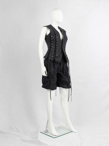 A.F. Vandevorst grey scrunched shorts in felt and metal — fall 2015