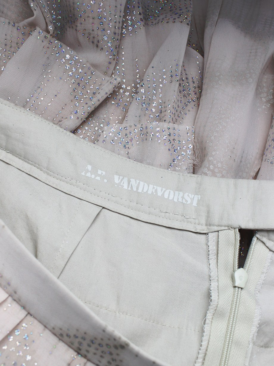 A.F. Vandevorst pink glitter skirt with multiple layered pleated panels — spring 2004