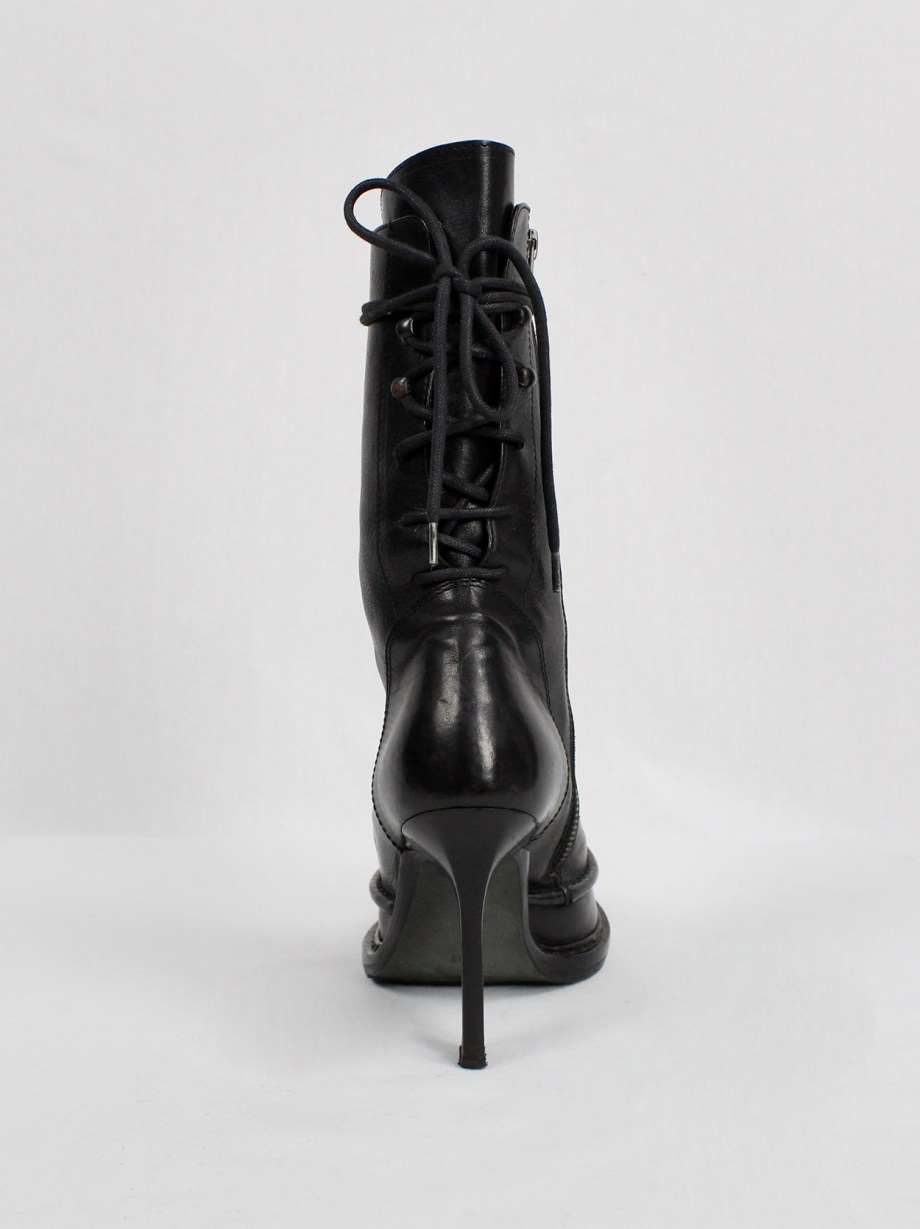 Ann Demeulemeester black boots with slit heel and backwards closure (36) — fall 2010