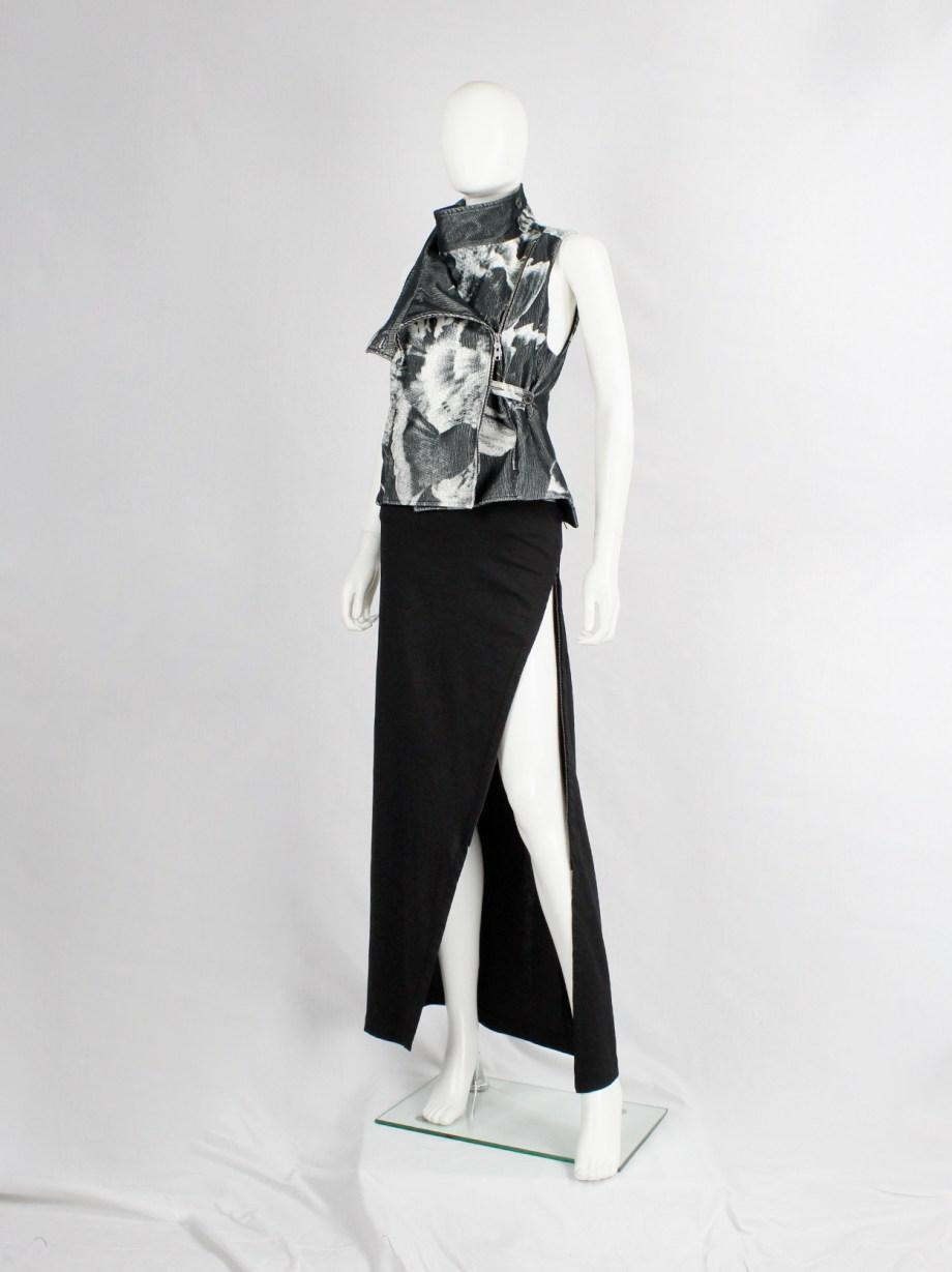 Ann Demeulemeester black maxi skirt with adjustable diagonal zipper slit — fall 2012