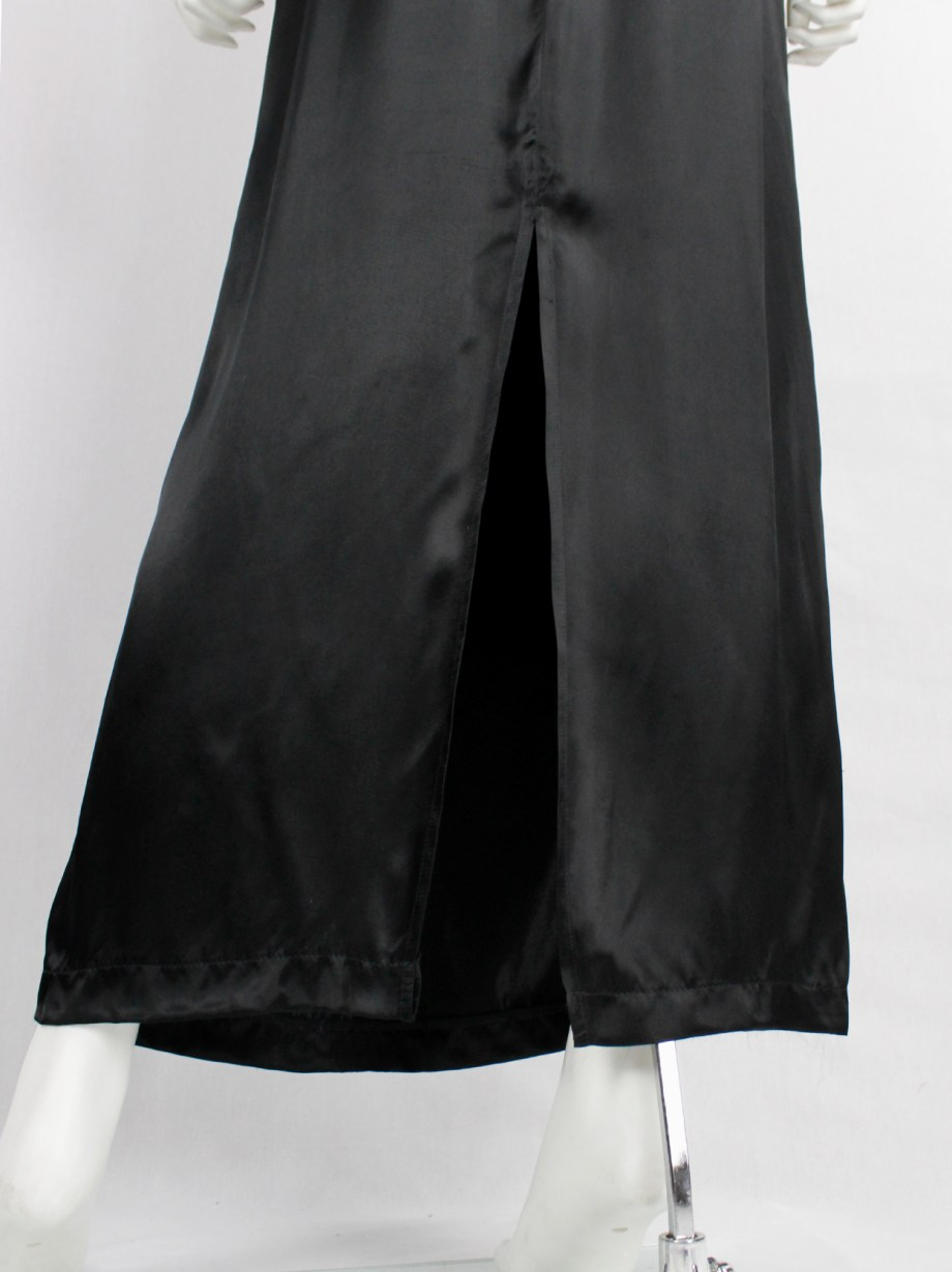 Maison Martin Margiela 6 black maxi skirt with slit and outer hanger loops — spring 1999