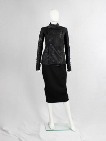 Rick Owens black blistered leather biker jacket with standing neckline