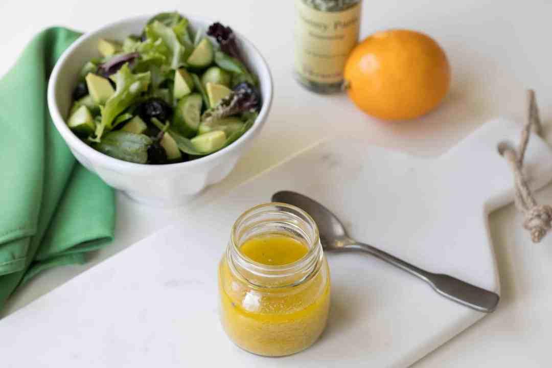 meyer lemon dijon vinaigrette with salad and meyer lemon
