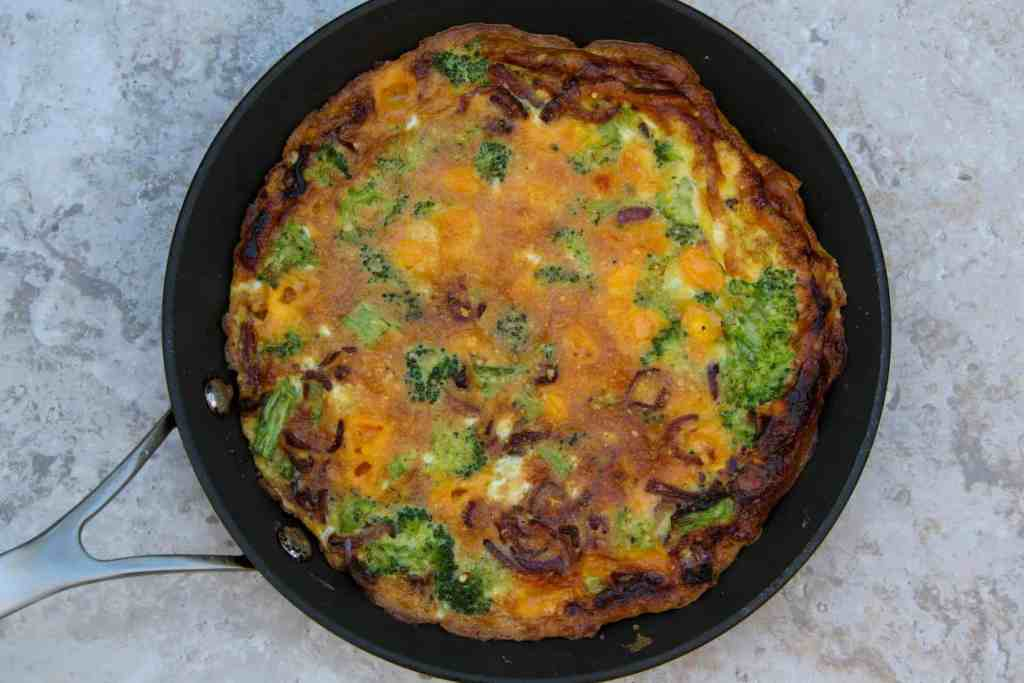 fully cooked frittata after broiler in skillet