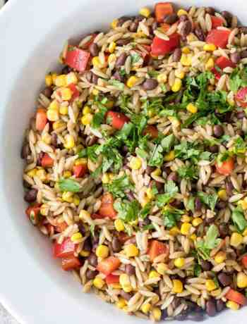 orzo pasta salad with red peppers, corn, and black beans