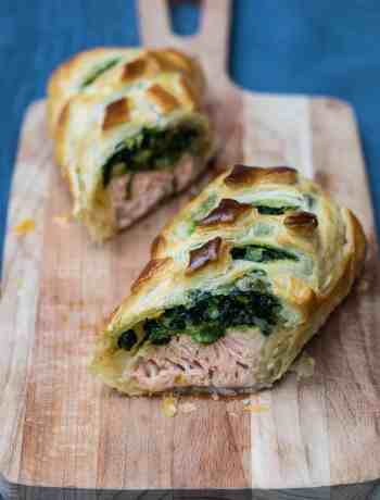 salmon wellington on cutting board