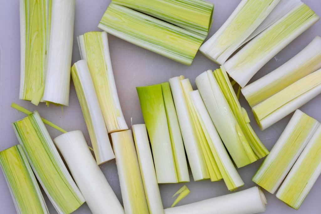 sliced leeks
