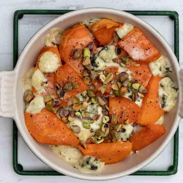 sweet potato gratin with pistachios