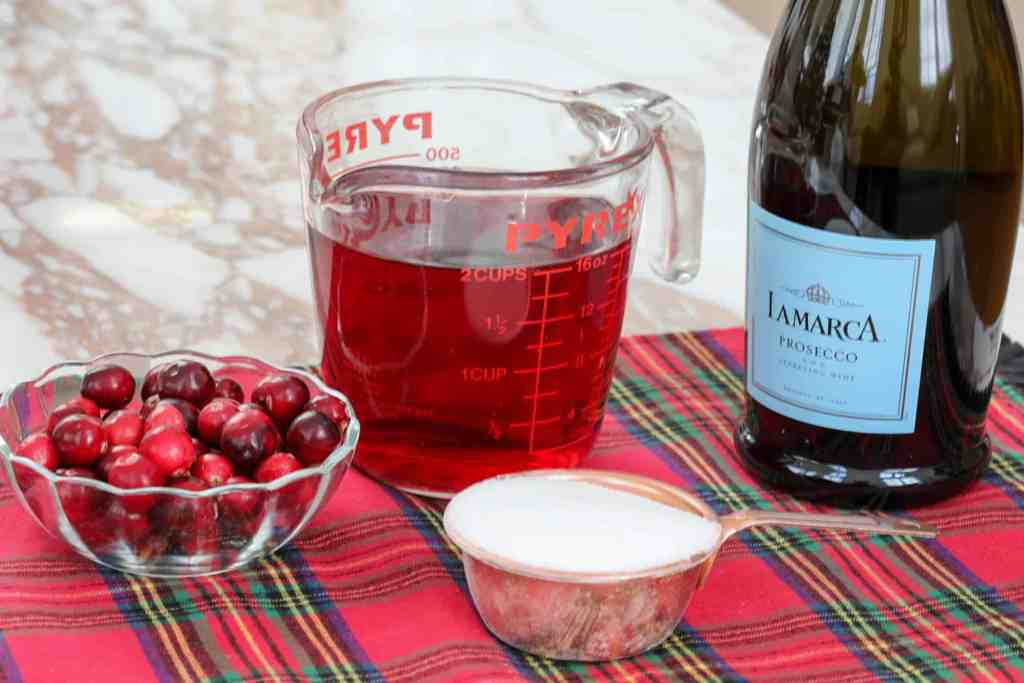 ingredients for cranberry mimosa
