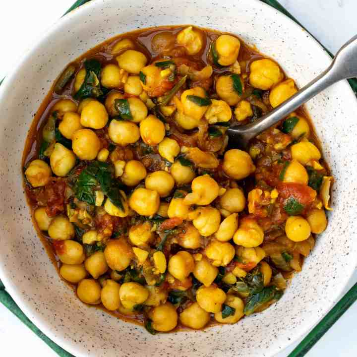 close-up of vegan chickpea curry in small bowl