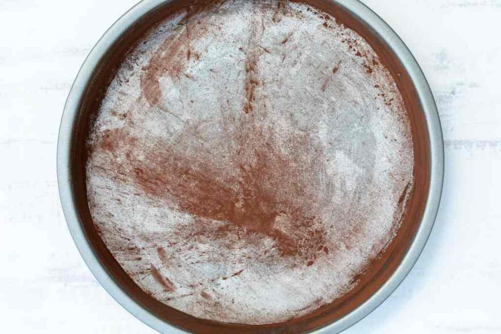 round 9-inch cake pan lined and coated with cocoa powder