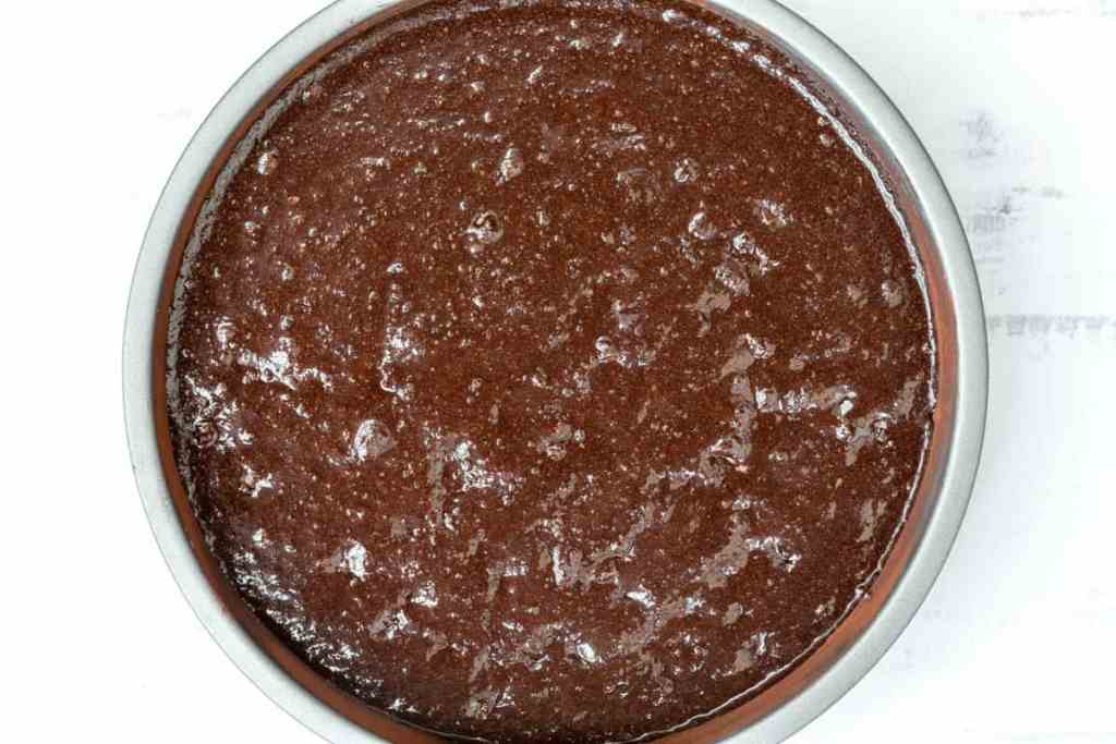 almond flour chocolate cake batter in pan ready for oven
