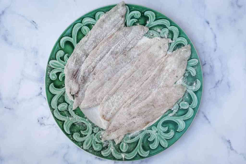 Sole fillets with salt, pepper, and flour