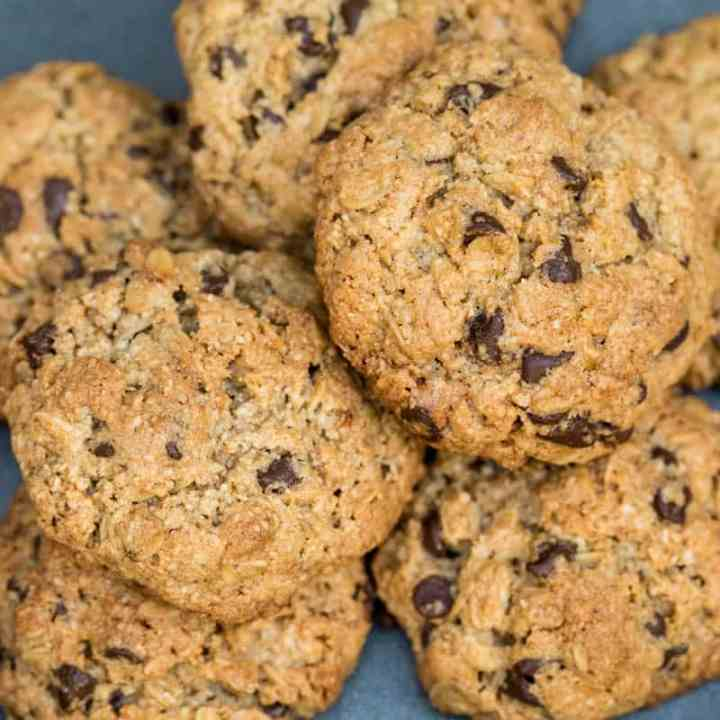 close up of almond flour oatmeal cookies
