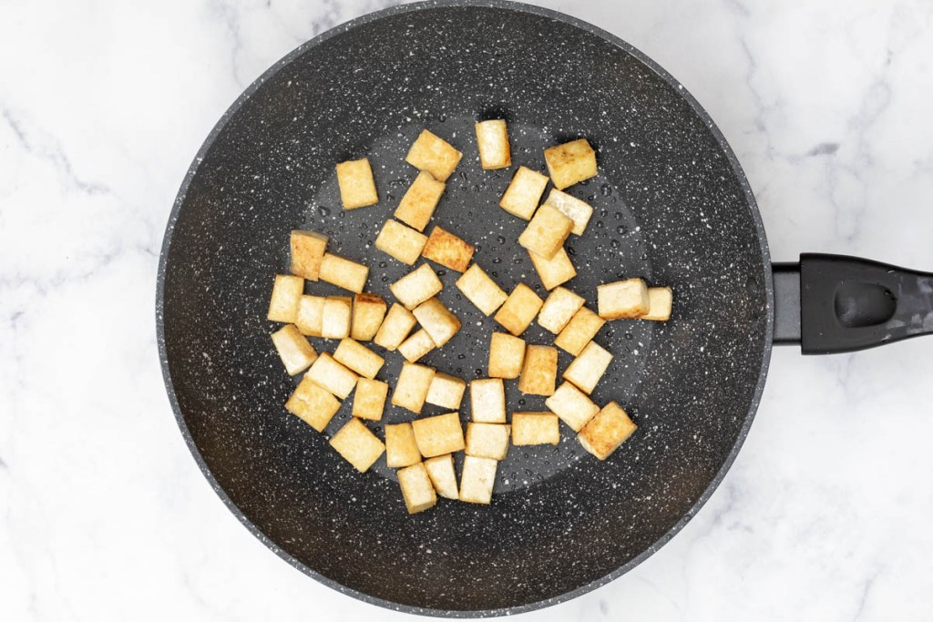 browned tofu in large skillet