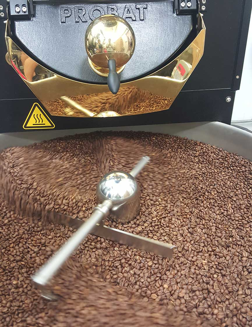 Perk Coffee roasting day