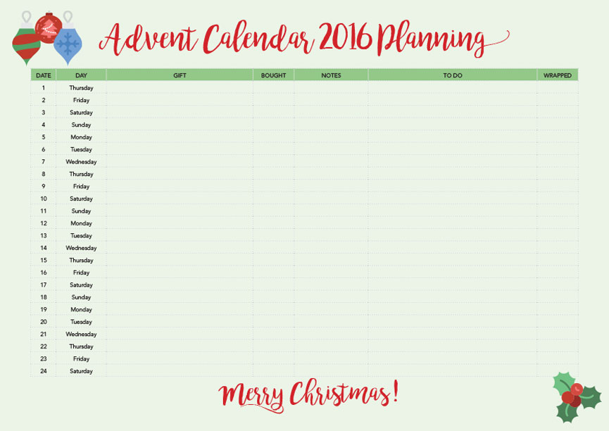 Here's as simple planner you can use to stay organised.