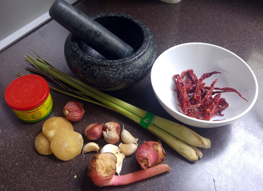 Using the freshest ingredients to pound into a flavourful curry paste.
