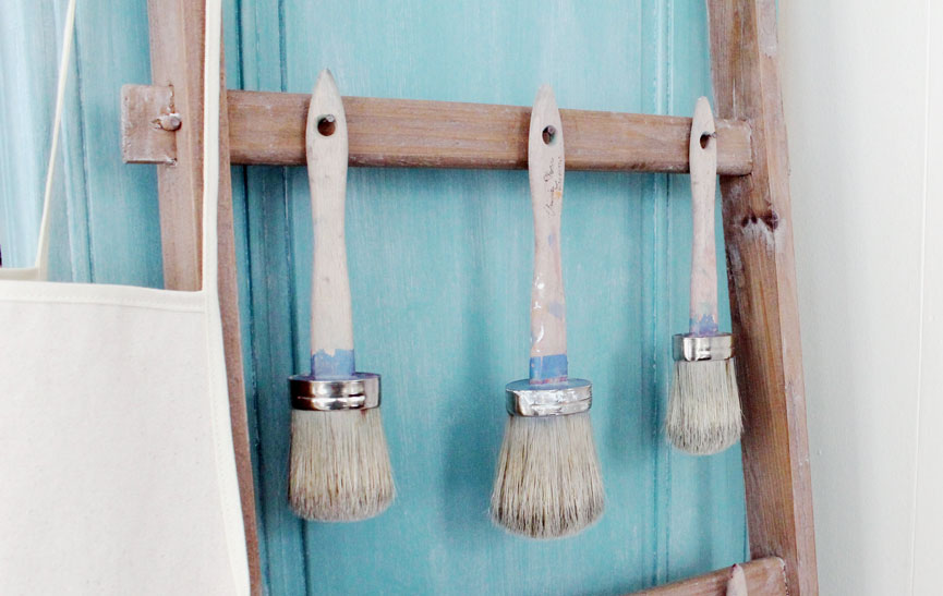 Annie Sloane paint brushes in a row.