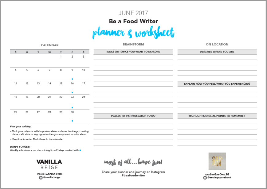 Be a Food Writer Planner