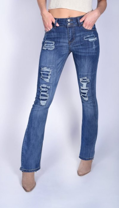 361633ad68d Gavin Mid-Rise Double Button Bootcut Jeans
