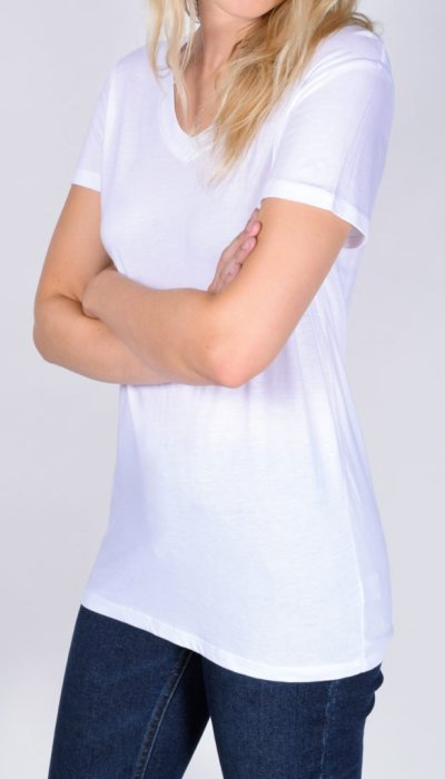 White V-Neck T-Shirt