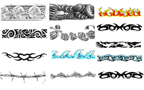 are tribal and celtic designs and barbed wire wrapped around the arm is