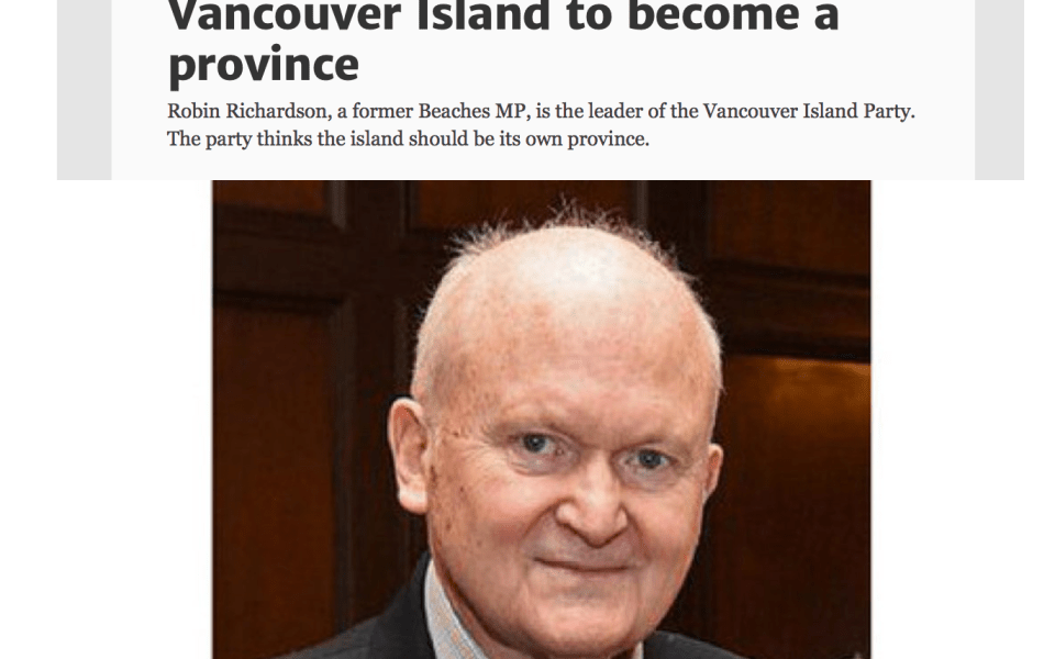 Toronto Star Reports Founding Of Vancouver Island Party