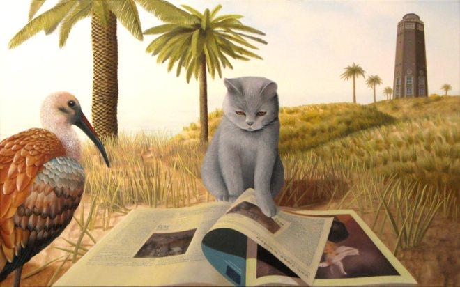 Oil on canvas, Patricia Van Lubeck, reading cat