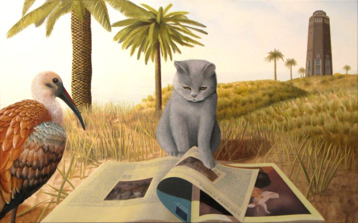 Oil on canvas, Patricia Van Lubeck, reading cat