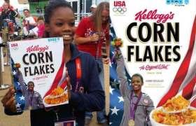 Gabby Douglas on Corn Flakes box
