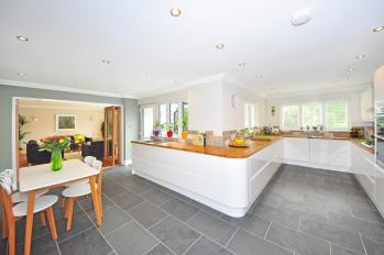 tiled flooring of a kitchen