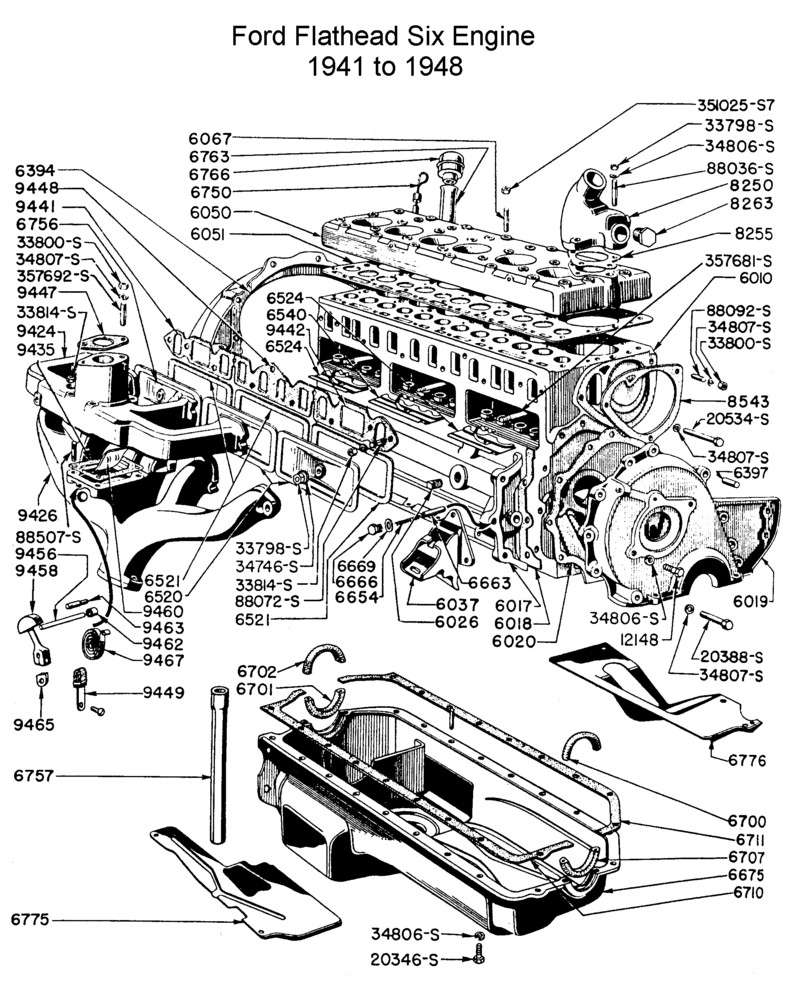 Ford flathead six parts drawings for the six cylinder engine built rh vanpeltsales ford 300