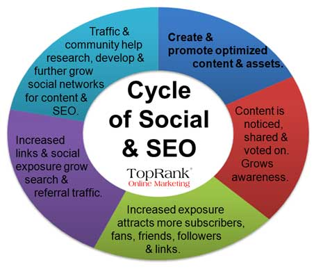 Graphic by TopRank showing cycle of social media and seo