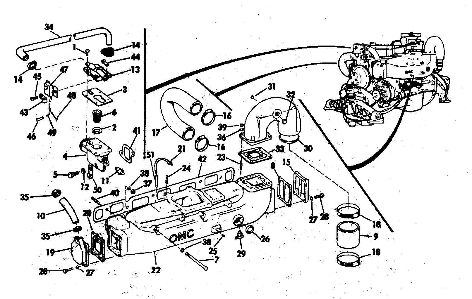 Array brp stern drive 1976 235 990241m 1976 cooling system group rh vansoutboardparts
