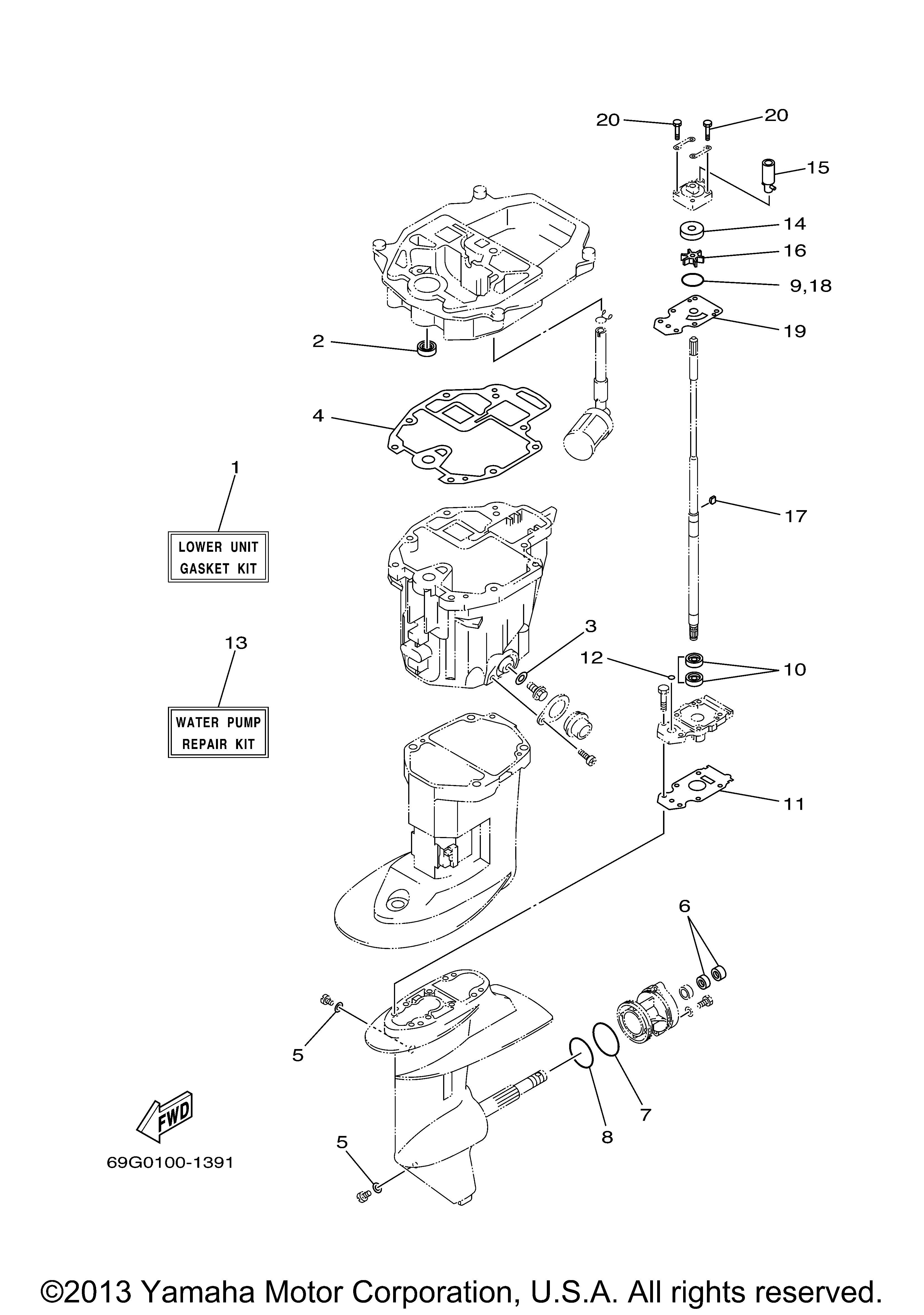 Yamaha Outboard 8 Hp T8pxr Repair Kit 3