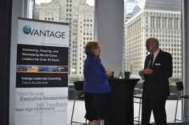 Managing Partner Carl Robinson chats with a customer at our event.
