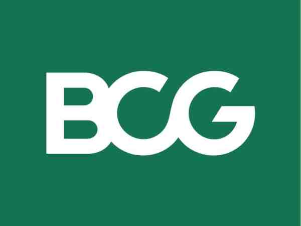 """Boston Consulting Group logo - white """"BCG"""" against forest green background"""
