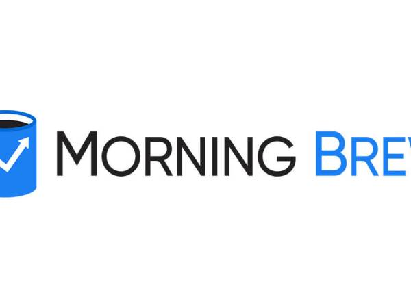 """Morning Brew logo (a blue coffee mug with a jagged upward arrow on it and the words """"Morning Brew"""" next to it"""