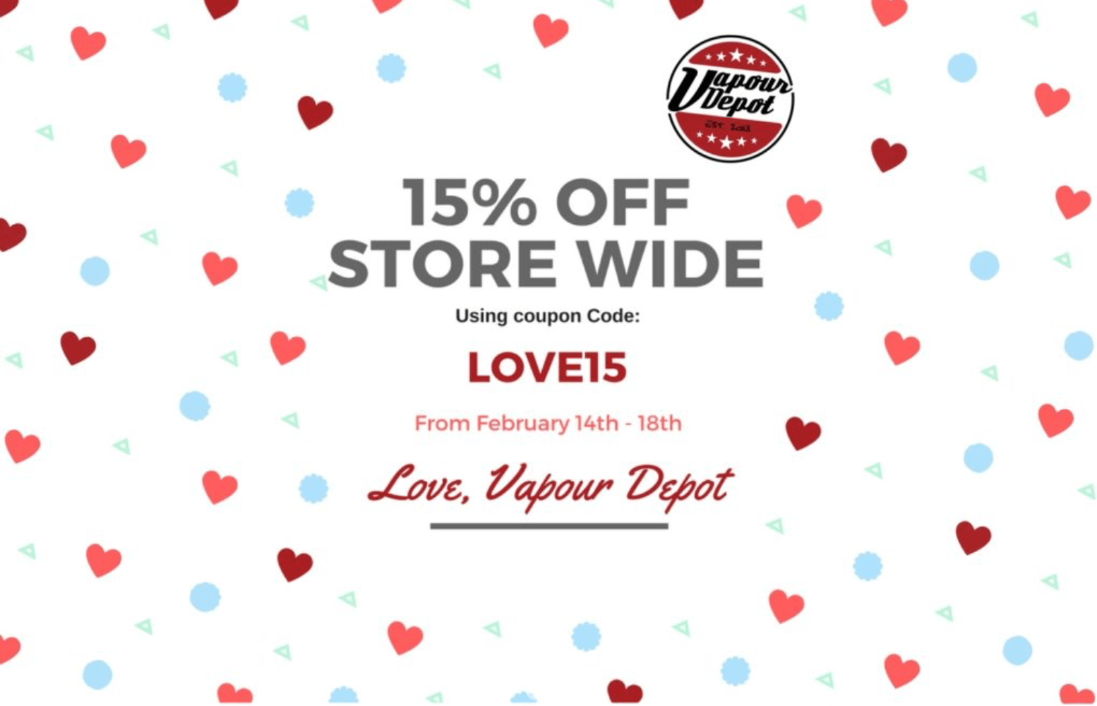 15% off site wide at Vapour Depot